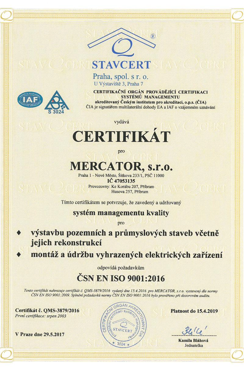 Certifikát EN ISO Mercator s.r.o. Praha