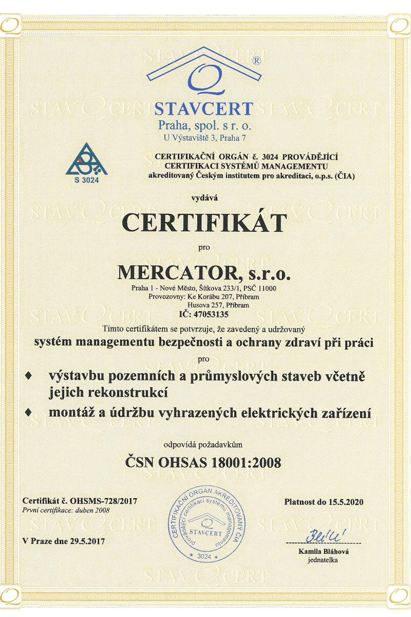 Certifikát OHSAS Mercator s.r.o. Praha