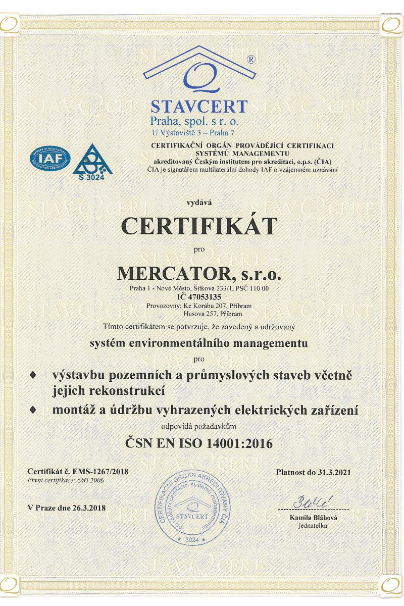 Certifikát ISO Mercator s.r.o. Praha